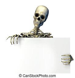 Skeleton with Edge of Blank Sign - Skeleton Holding the Edge...