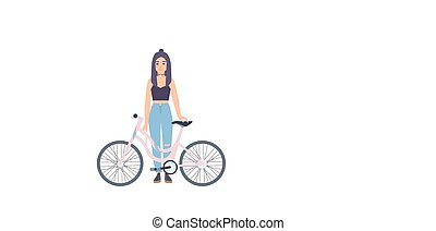 Modern girl standing with bicycle. Cartoon flat colorful vector illustration.