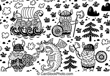 Seamless pattern with vikings. Vector contour background