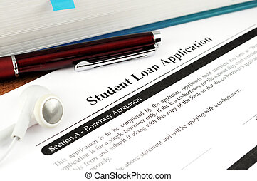 Student Loan Application - Up close with a student loan...