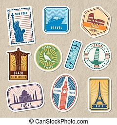 Travel stickers set with different worldwide architectural symbols. Vector labels with grunge texture