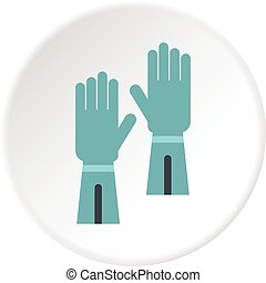 Rubber gloves for hand protection icon circle - Rubber...