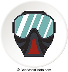 Paintball mask icon circle - Paintball mask icon in flat...