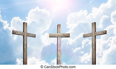 Old wooden cross on beautiful heaven background