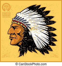 american native chief head on grunge background
