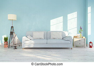 3d render - interior of scandinavian living room - retro look