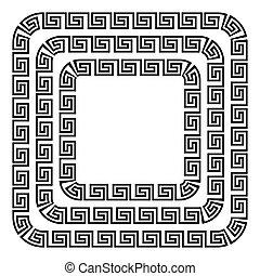Square ornament meander. - Square ornament meander on white...