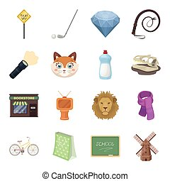 Sport, education, animal and other web icon in cartoon style.History, mineral, cinema icons in set collection.