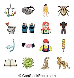 river, lynx, cat and other web icon in cartoon style.animal, tourism, recreation icons in set collection.
