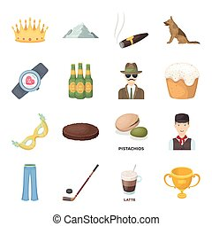 Service, sport, fitness and other web icon in cartoon style.Food, country, animal icons in set collection.