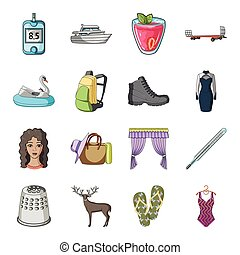 Transportation, recreation, animal and other web icon in cartoon style.Medicine, beauty, fashion icons in set collection.