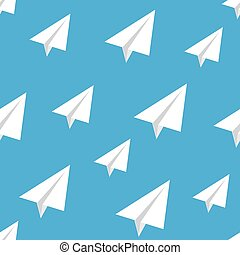 Seamless pattern with vector paper airplane.