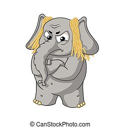 Big collection vector cartoon characters of elephants on an...