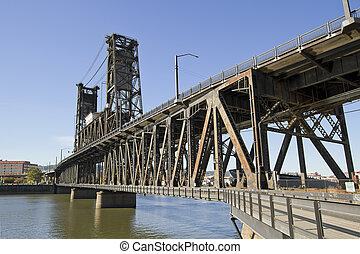 Steel Bridge over Willamette River 2 - Steel Bridge over...