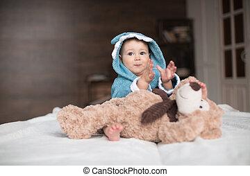 嬰孩, 男孩, 熊,  Teddy