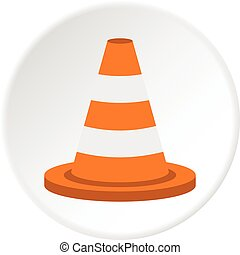 Traffic cone icon circle - Traffic cone icon in flat circle...