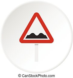 Bumpy road sign icon circle - Bumpy road sign icon in flat...