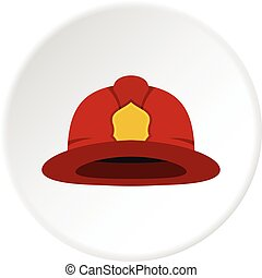 Red fireman helmet icon circle