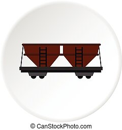 Freight railroad car icon circle - Freight railroad car icon...