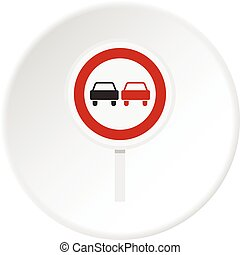 No overtaking road traffic sign icon circle - No overtaking...