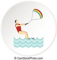 Kitesurfing icon circle - Kitesurfing icon in flat circle...