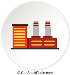 Power plant icon circle - Power plant icon in flat circle...