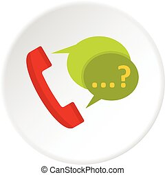 Phone with question mark speech bubble icon circle - Phone...