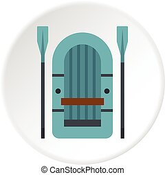 Inflatable boat icon circle - Inflatable boat icon in flat...