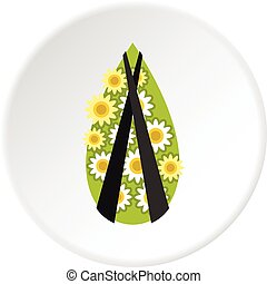 Memorial wreath icon circle - Memorial wreath icon in flat...