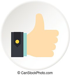Thumbs up icon circle - Thumbs up icon in flat circle...