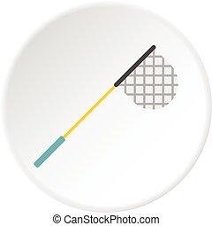 Fishing net icon circle - Fishing net icon in flat circle...