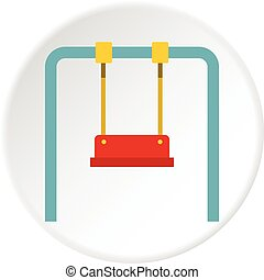 Swing icon circle - Swing icon in flat circle isolated...