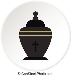 Urn icon circle - Urn icon in flat circle isolated vector...