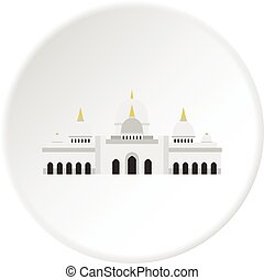 Taj Mahal icon circle - Taj Mahal icon in flat circle...