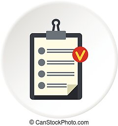 Clipboard with checklist icon circle