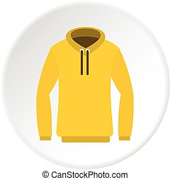 Hoody icon circle - Hoody icon in flat circle isolated...