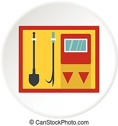 Fire shield with fire extinguishing tools icon - Flat...