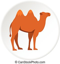 Camel icon circle - Camel icon in flat circle isolated...
