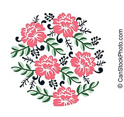 Vintage colorful Floral crown Vector summer roses silhouette pattern. Hand drawn illustration