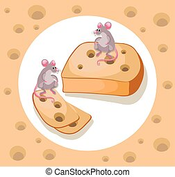 Mice cheddar cheese Vector funny cartoon caracter template illustration