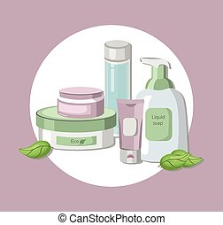 Vector organic Cosmetics set package. Hydration cream and...