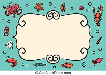 Card template. Marine theme. Blue card with lobster, shrimps snails, sea cabbage and anchor. Hand-drawn illustration on a blue background. Sea inhabitants and plants.