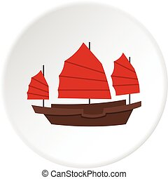 Chinese boat with red sails icon circle