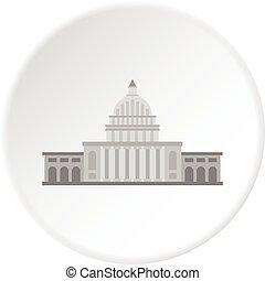White house icon circle - White house icon in flat circle...