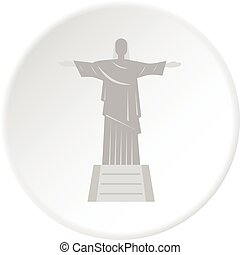Christ the Redeemer statue icon circle - Christ the Redeemer...
