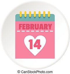 Pink Valentines day calendar icon circle