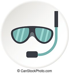 Swimming mask icon circle - Swimming mask icon in flat...