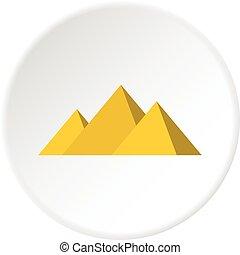 Egyptian Giza pyramids icon circle - Egyptian Giza pyramids...