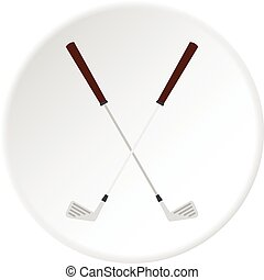 Crossed golf clubs icon circle - Crossed golf clubs icon in...