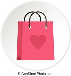 Pink shopping bag with heart icon circle